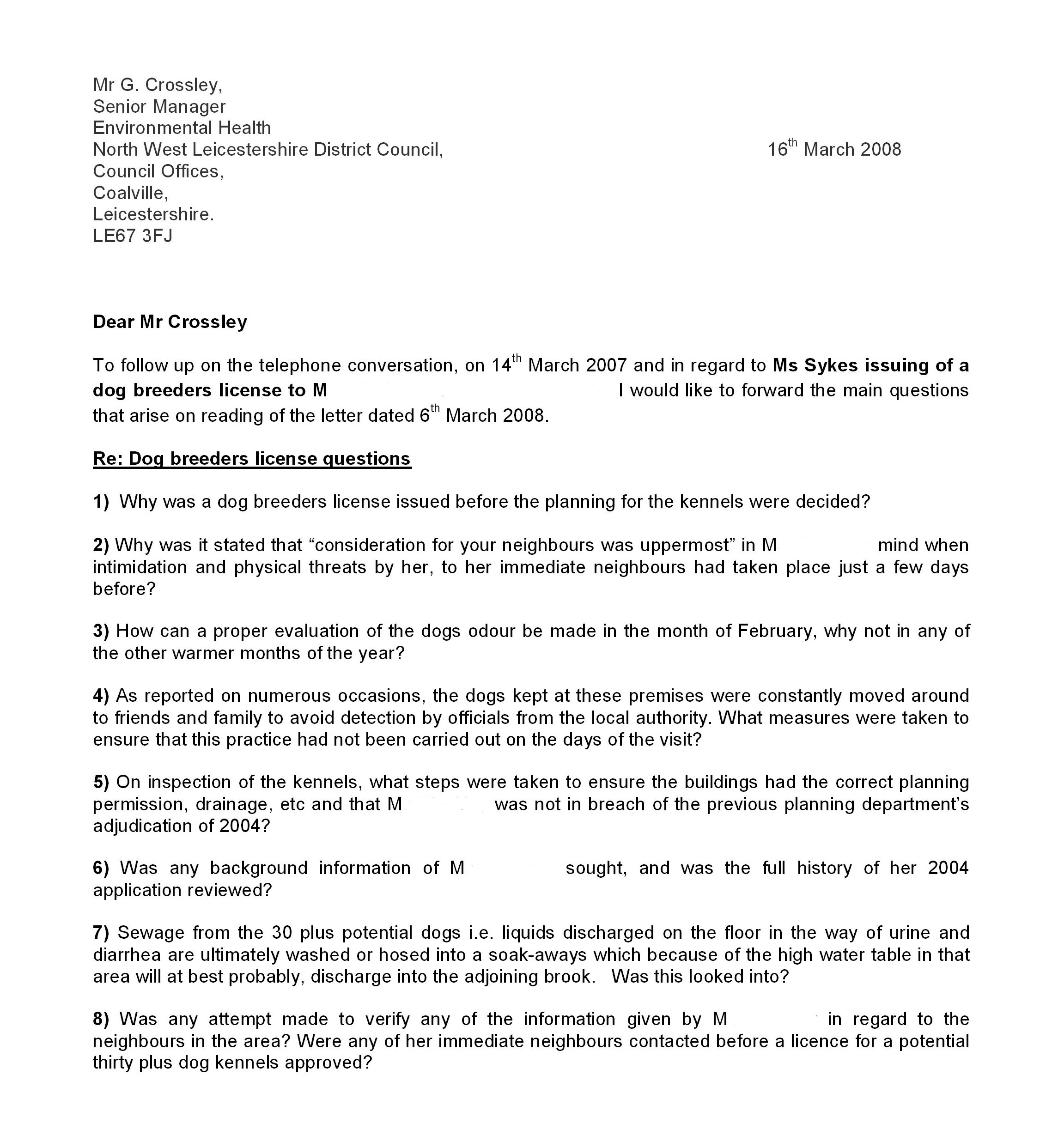 Letter To Council Complain Dog Barking