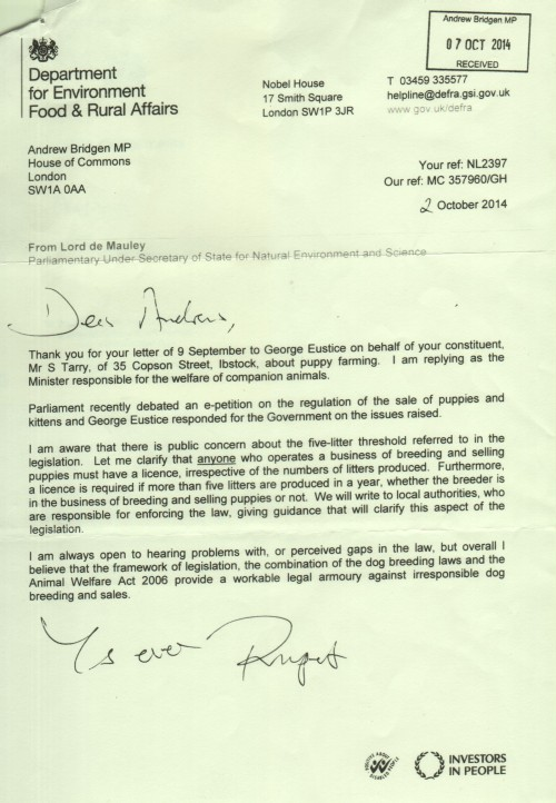 Ministers letter